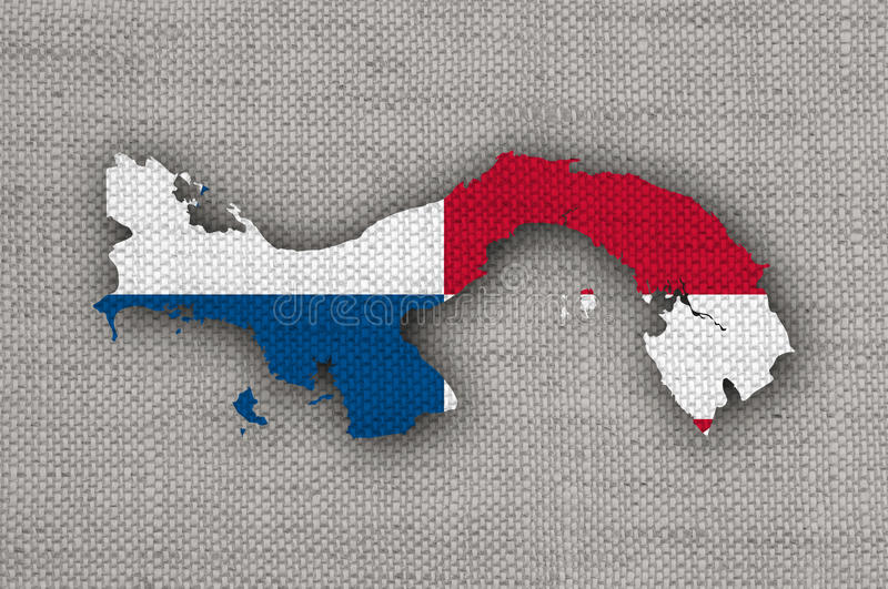 Map and flag of Panama on old linen. Colorful and crisp image of map and flag of Panama on old linen royalty free stock photo