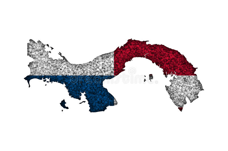 Map and flag of Panama on poppy seeds. Colorful and crisp image of map and flag of Panama on poppy seeds royalty free stock photos