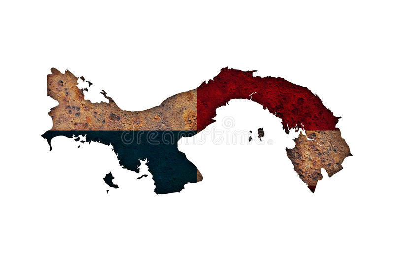 Map and flag of Panama on rusty metal. Colorful and crisp image of map and flag of Panama on rusty metal stock images
