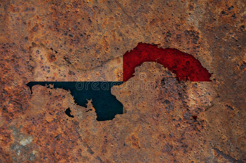 Map and flag of Panama on rusty metal. Colorful and crisp image of map and flag of Panama on rusty metal royalty free stock photography