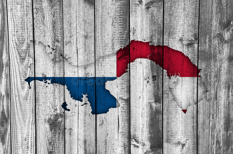 Map and flag of Panama on weathered wood. Colorful and crisp image of map and flag of Panama on weathered wood stock photography