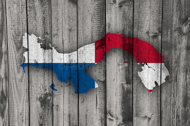 Map and flag of Panama on weathered wood. Colorful and crisp image of map and flag of Panama on weathered wood royalty free stock photos