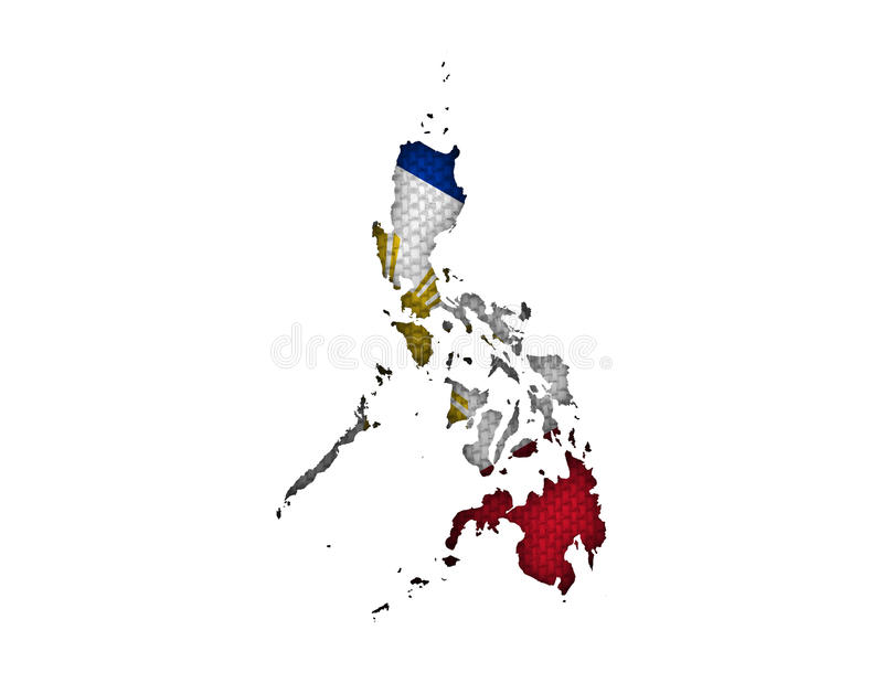 Map and flag of the Philippines on old linen. Colorful and crisp image of map and flag of the Philippines on old linen royalty free stock photography