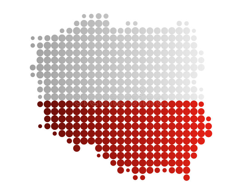 Map and flag of Poland vector illustration