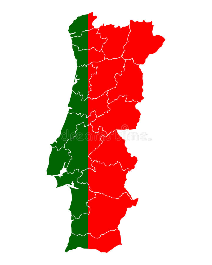 Map and flag of Portugal. Detailed and accurate illustration of map and flag of Portugal vector illustration