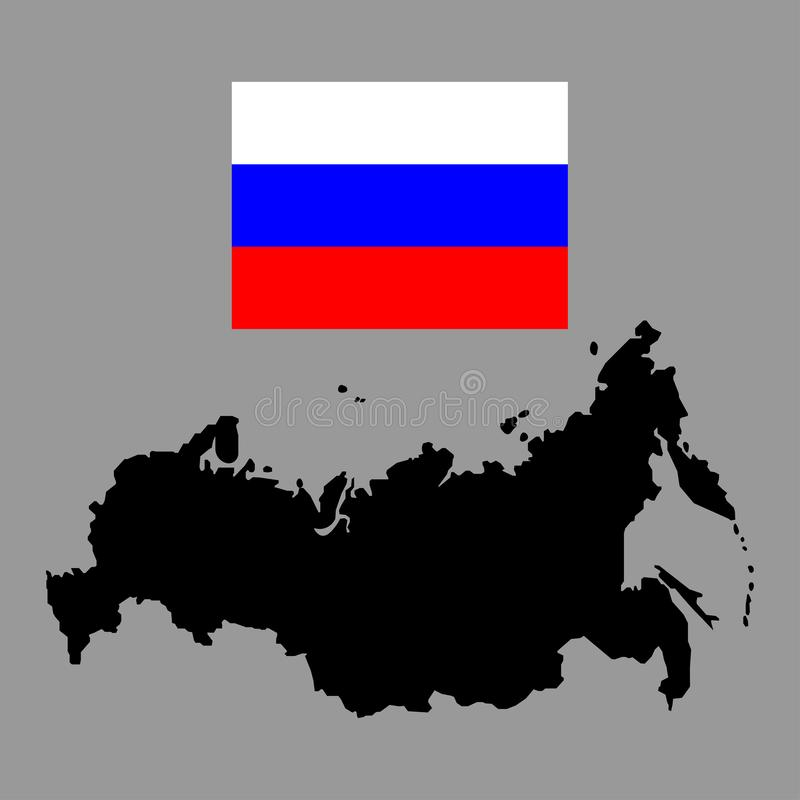 Map and flag of Russia sign. Eps ten royalty free illustration
