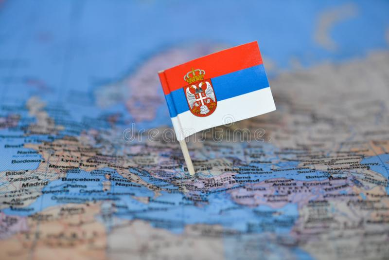 Map with flag of Serbia stock photos