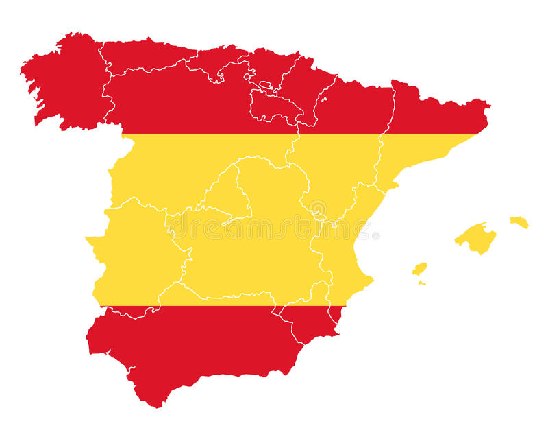 Map and flag of Spain. Detailed and accurate illustration of map and flag of Spain stock illustration