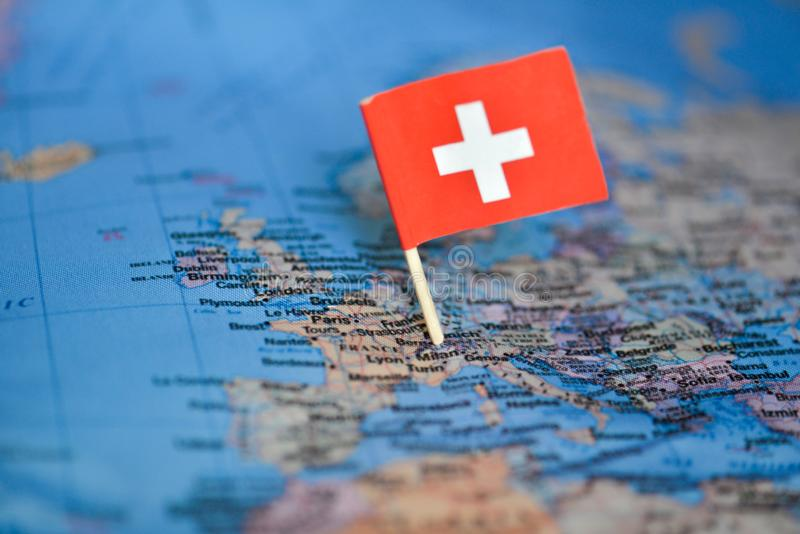 Map with flag of Switzerland. The Map with flag of Switzerland royalty free stock image