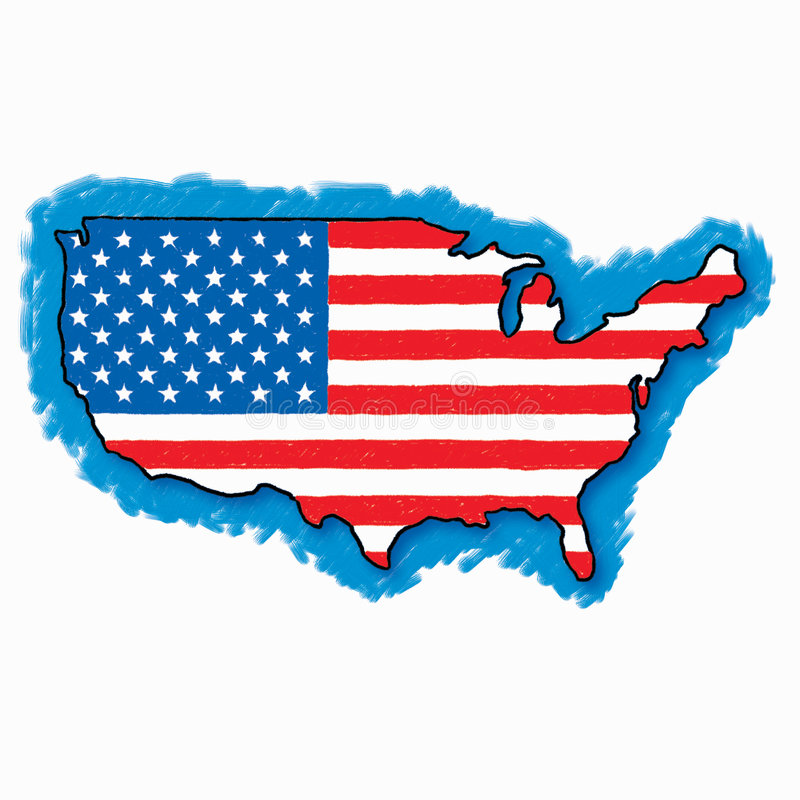 Map flag of the USA drawn freehand. Freehand drawing of the map of the united states stock illustration
