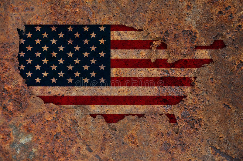 Map and flag of the USA on rusty metal. Colorful and crisp image of map and flag of the USA on rusty metal royalty free stock image