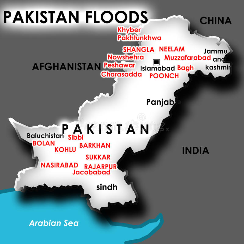 Map Of Flood In Pakistan Royalty Free Stock Image