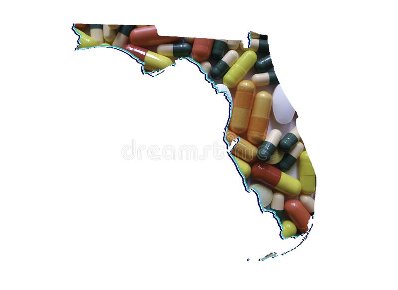 Background for medicine and healthcare in Florida state. Map of Florida state with medicine pills and white background stock illustration