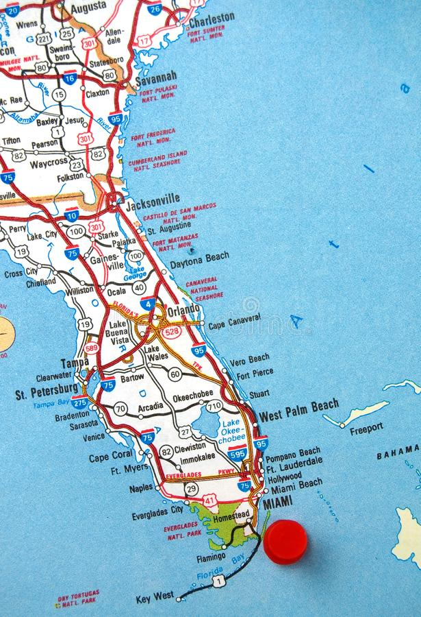 Map of Florida State with Miami Identified with a Red Dot royalty free stock photos