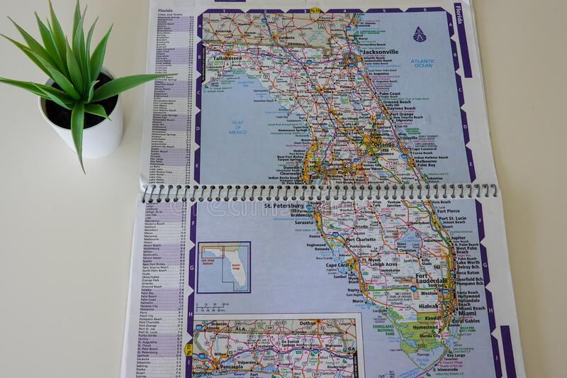 A map of Florida in the United States. A paper map of Florida in the United States of America stock images