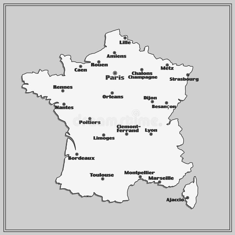 carte de france noir et blanc Map Of France With Big Cities. Stock Illustration   Illustration