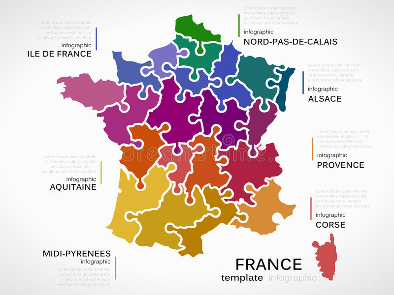 Map of France. Concept infographic template with regions made out of puzzle pieces royalty free illustration