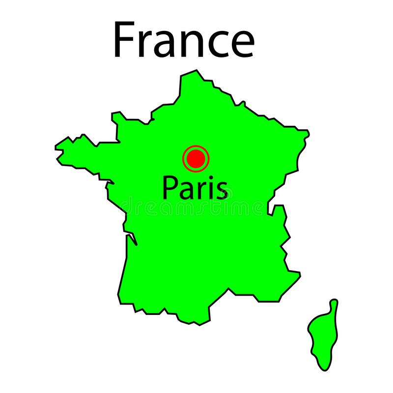Map of France and Corsica green sign. Paris city. Eps ten vector illustration