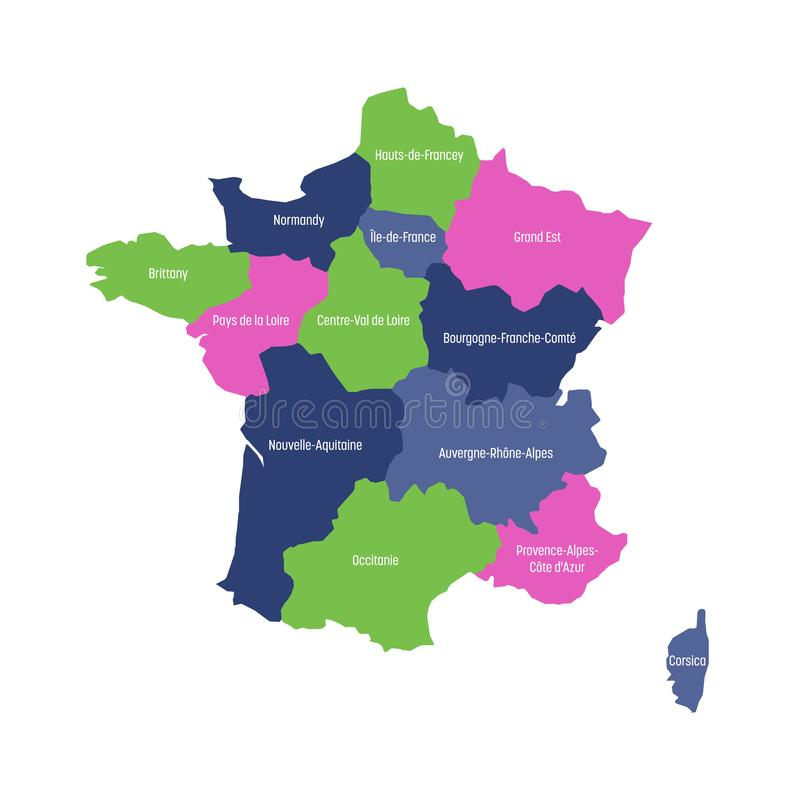 Map Of France Divided Into 13 Administrative Metropolitan Regions