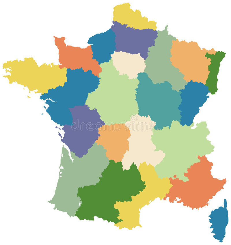 Map of France divided into regions. Map of France divided into twenty two regions royalty free illustration