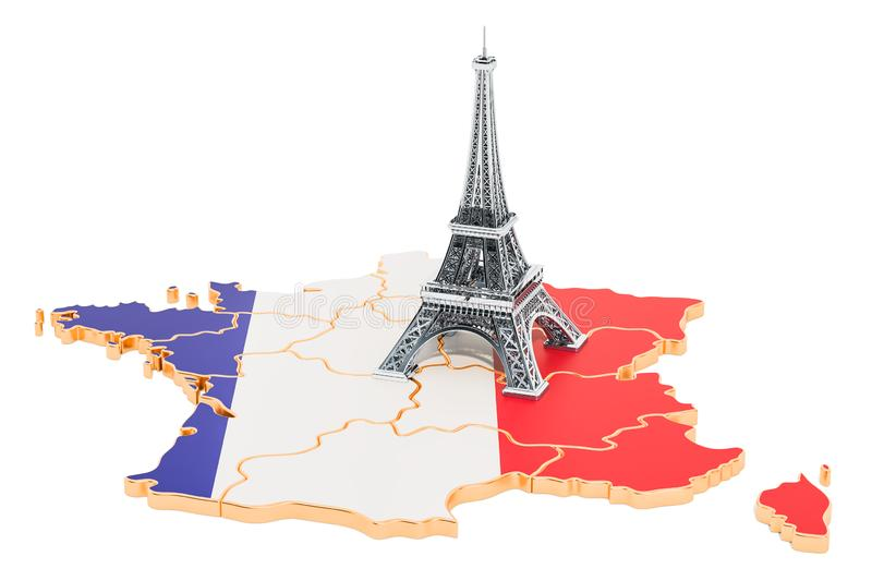 Map of France with Eiffel Tower, 3D rendering vector illustration