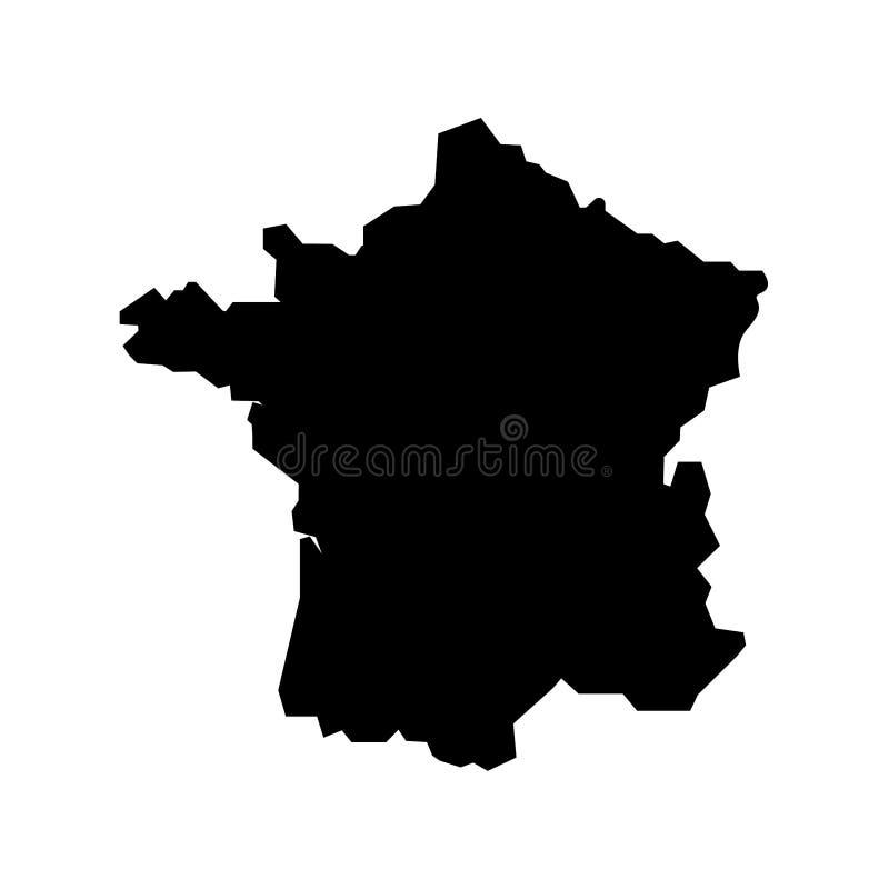 Map of France filled with black color sign. Eps ten stock illustration