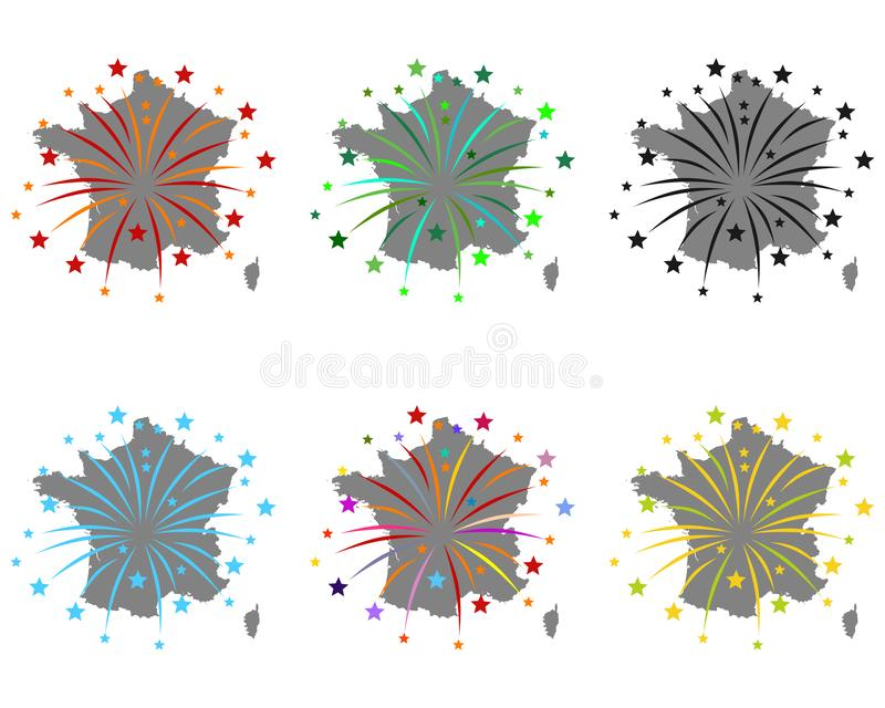 Map of France with fireworks. Detailed and accurate illustration of map of France with fireworks vector illustration