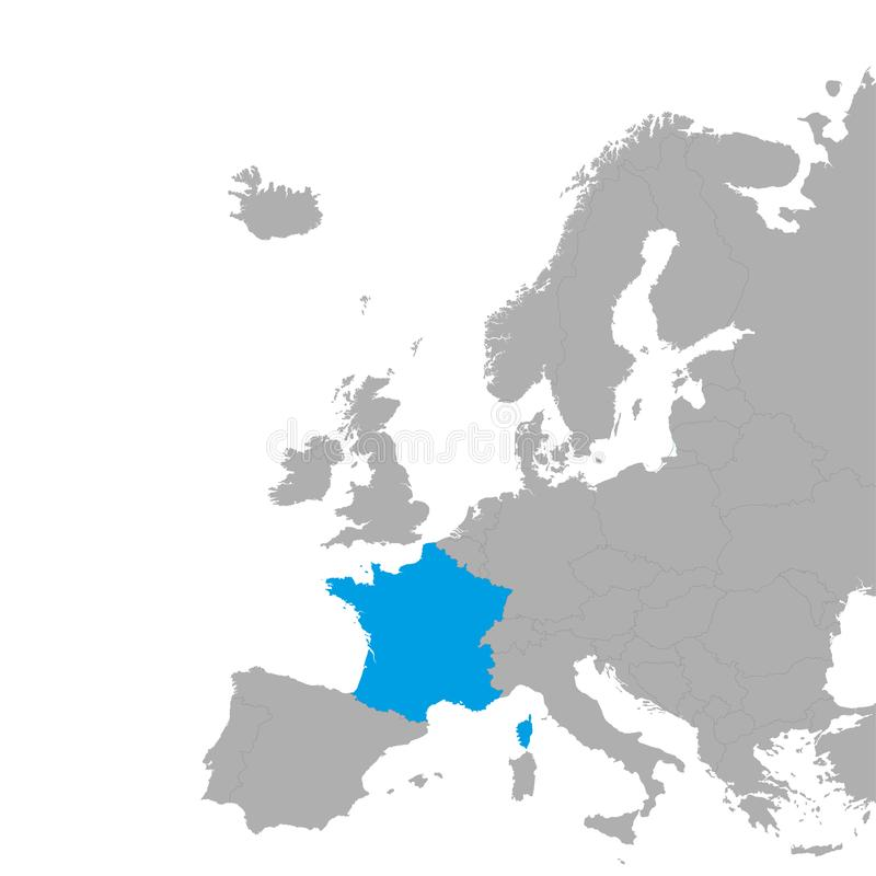 The map of France is highlighted in blue on the map of Europe royalty free illustration