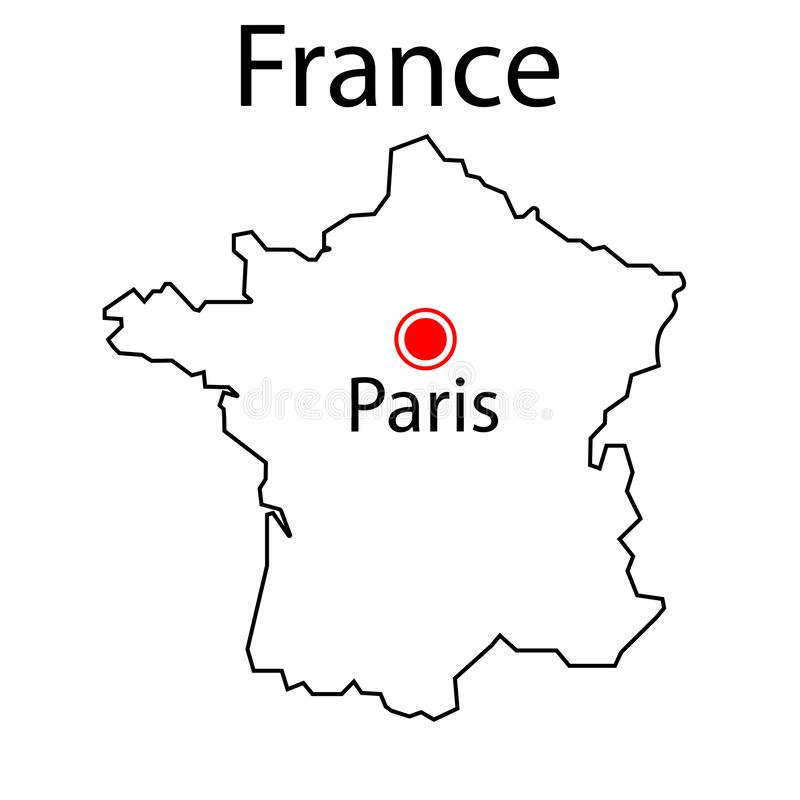 Map of France sign. Thin lines. Paris. Eps ten vector illustration