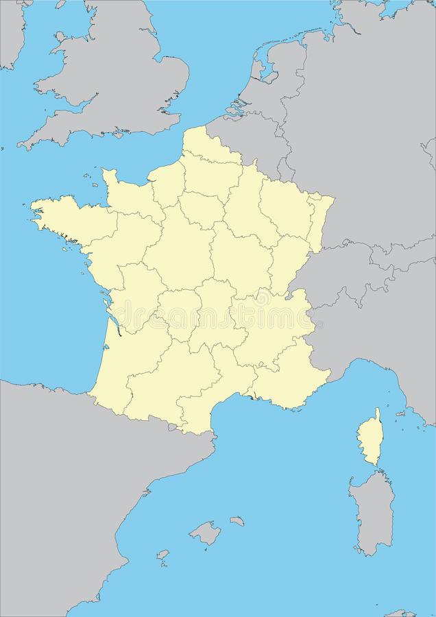 Map of France. And their regions. File easy to edit and apply. Elements of this image furnished by NASA vector illustration