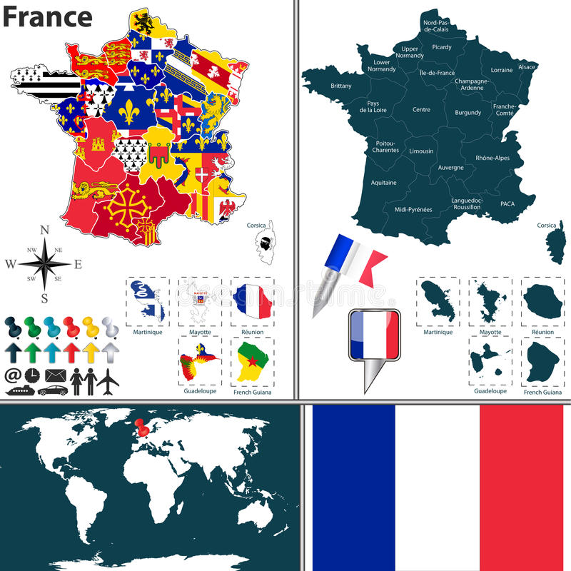 Map of France. Vector map of France with regions with flags and location on world map vector illustration