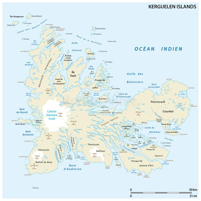 Map of the French archipelago of the Kerguelen.  vector illustration