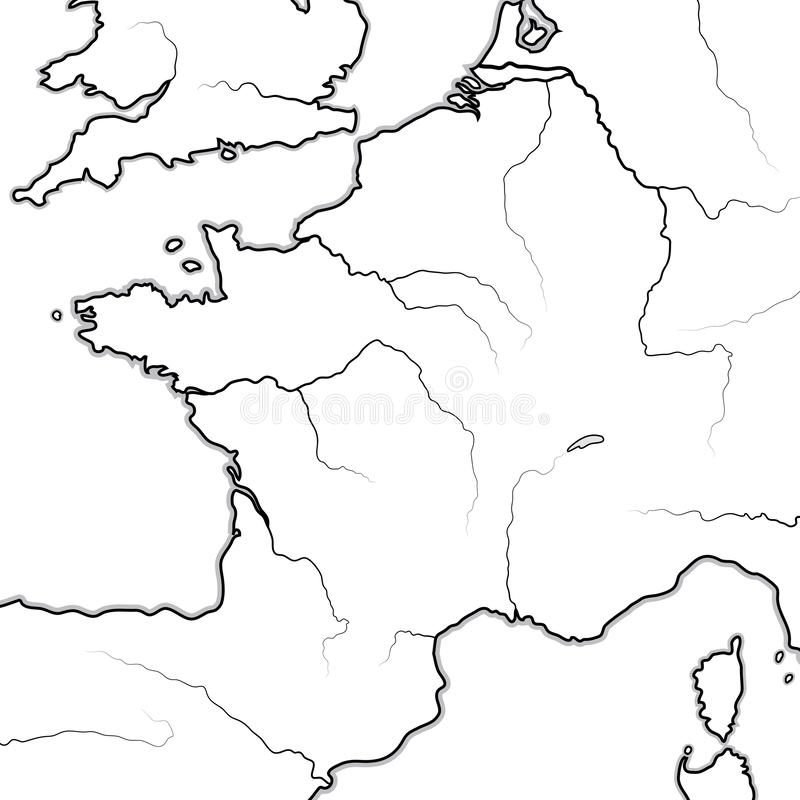 Map of The FRENCH Lands: France, Provence, Normandie, Occitanie, Aquitaine, Lorraine. Geographic chart. Map of The FRENCH Lands: France and its regions ( royalty free illustration
