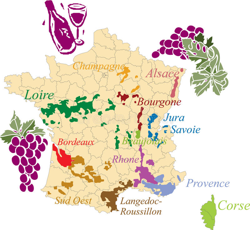 Map french wine. Map french wine isolated on white vector illustration