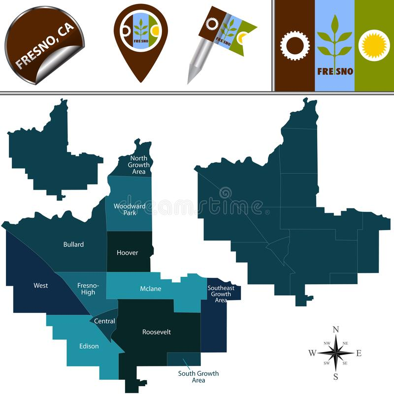 Map of Fresno, CA with Districts. Vector map of Fresno, California of the United States with named districts and travel icons royalty free illustration
