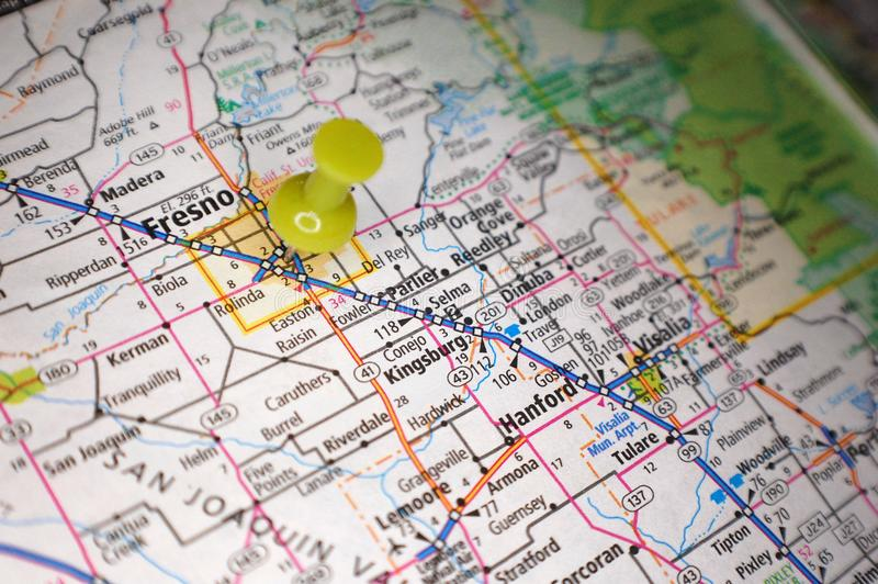 Fresno, California. A map of Fresno, California marked with a push pin stock image