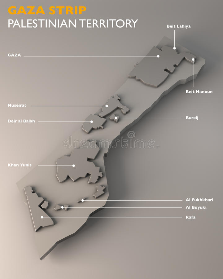 Map of the Gaza Strip and the city. Gaza Strip and conurbations on a brown background vector illustration