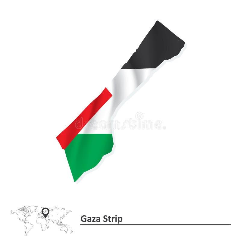 Map of Gaza Strip with flag. Vector illustration royalty free illustration