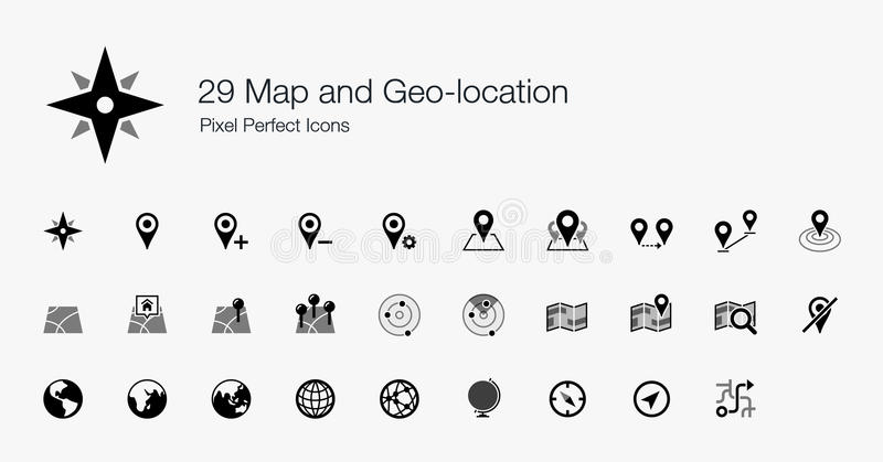 29 Map and Geo-location Pixel Perfect Icons royalty free stock photo
