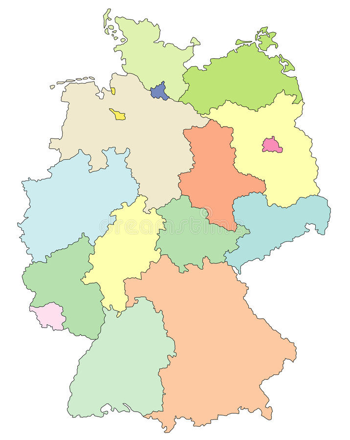 Map of Germany. A detailed map of Germany and its states