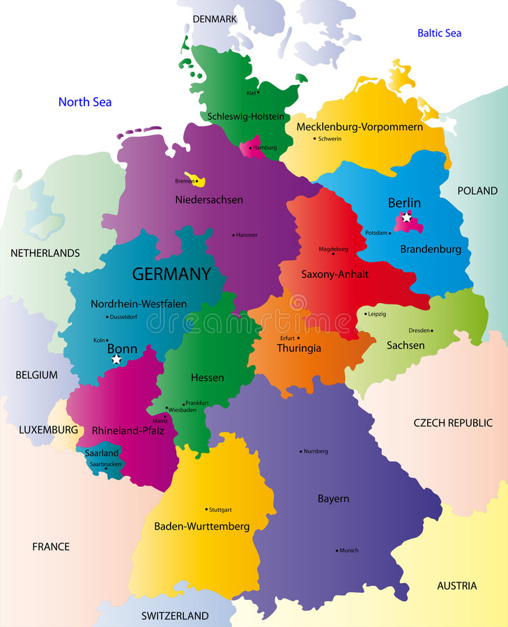 germany map designed in illustration with the regions colored in bright colors and with the main cities on an illustration neighbouring countries are shown