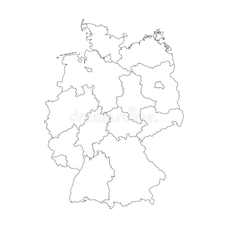 Map Of Germany Divided To Federal States Stock Vector Image - Germany map simple
