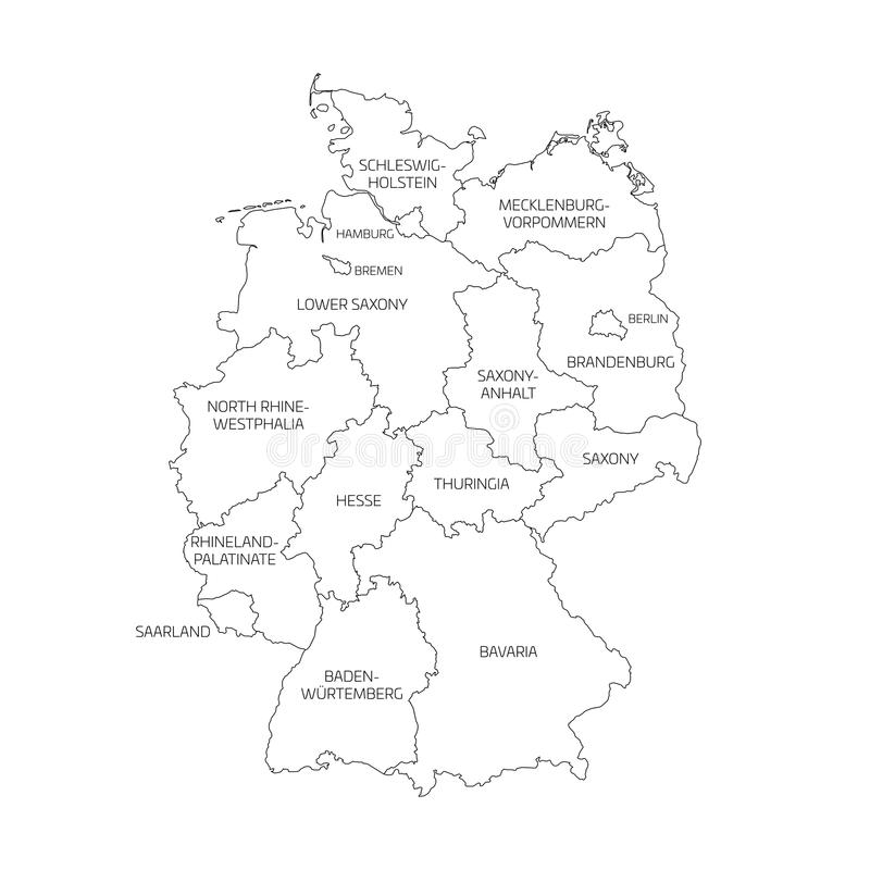 Map Of Germany Divided To 13 Federal States And 3 City States Berlin Bremen And Hamburg Europe Simple Flat Vector Stock Vector Illustration Of Hamburg Graphic 97123396