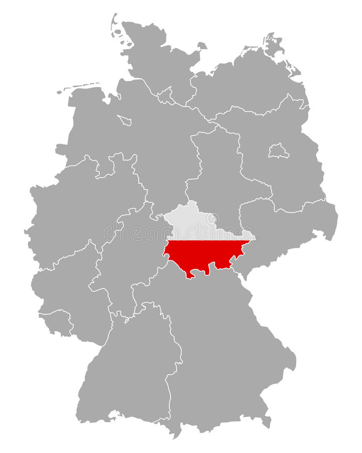 detailed and accurate illustration of map of germany with flag of thuringia