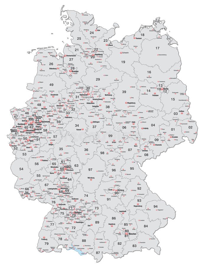 Map Of Germany With Postcodes In Gray Stock Image Image - Germany map main cities
