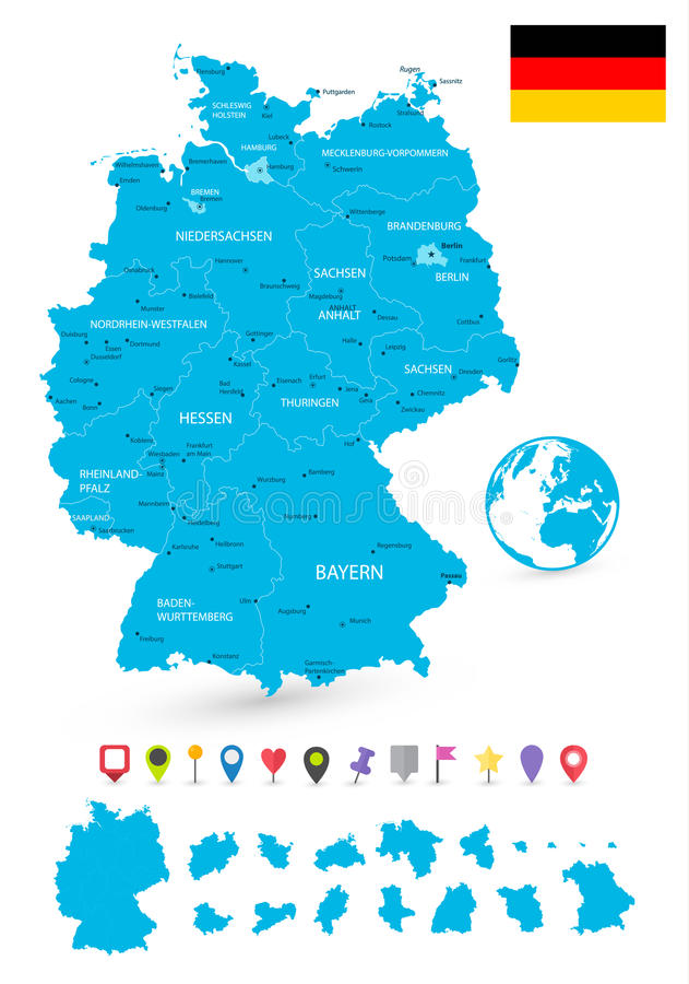 download map of germany with its states and flat map pointers stock vector illustration of