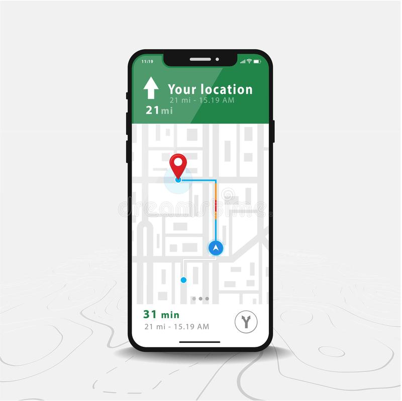 Map GPS Navigation, Smartphone map application and red pinpoint on screen. Directly front view of black smartphone, isolated on line maps background, Vector stock illustration