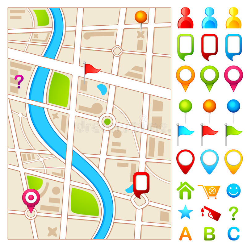 Map with GPS pointer vector illustration