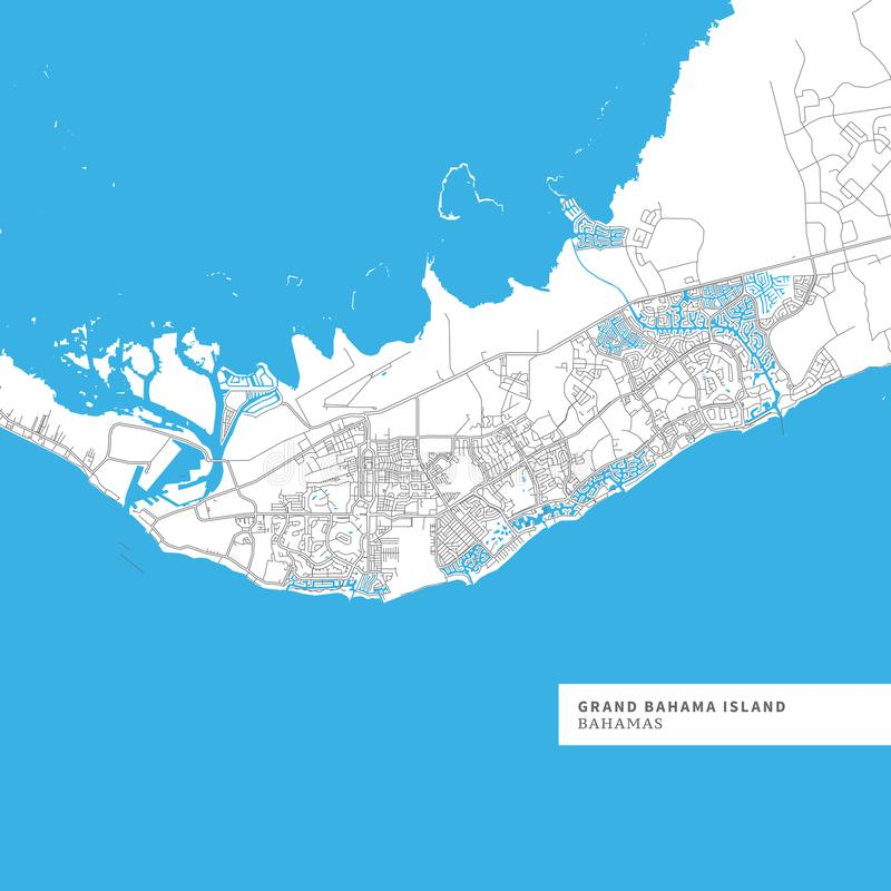 Map of Grand Bahama Island. Contains geography outlines for land mass, water, major roads and minor roads vector illustration