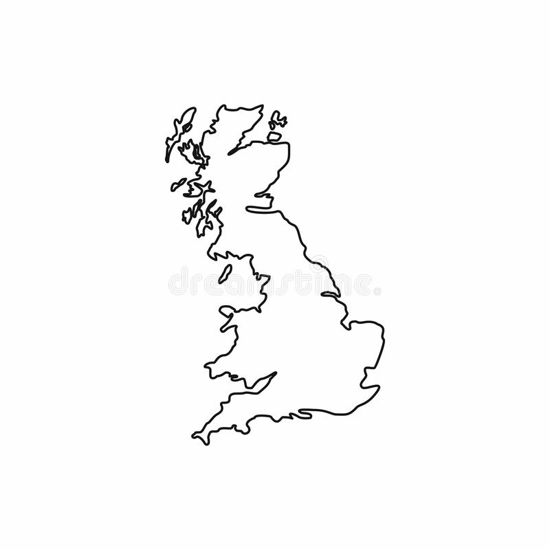 Map of Great Britain icon, outline style vector illustration